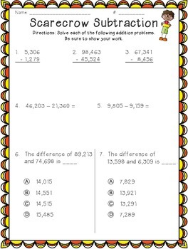 Addition and Subtraction Fall Themed Worksheets