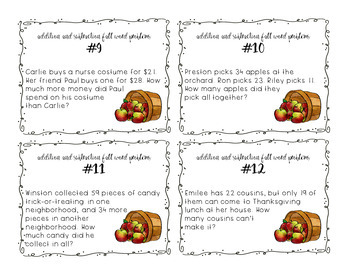 Addition and Subtraction Task Cards - Fall Word Problems