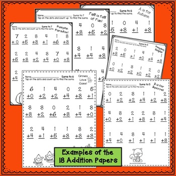 "Addition and Subtraction Fall Worksheets with ""Tap 'n Count"" points"
