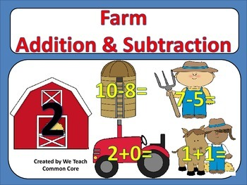 Addition and Subtraction Farm Themed Math Station Activity