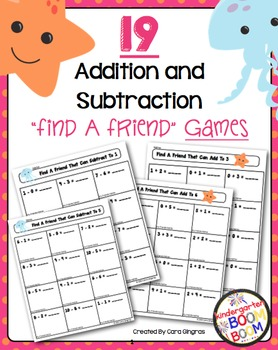 Addition and Subtraction Find A Friend Games