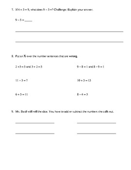 Addition and Subtraction First Grade Teacher-Made Math Test