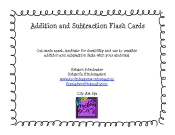 Addition and Subtraction Flash Cards 2