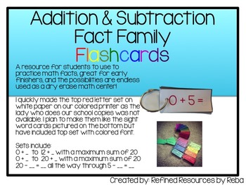 Addition and Subtraction Flash Cards Self Checking