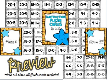 Addition and Subtraction Flash Cards to 20 BUNDLED