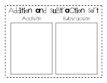Addition and Subtraction Flashcard Sorting Mat
