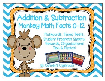 Addition and Subtraction Flashcards and Timed Tests 0-18 Monkey Math