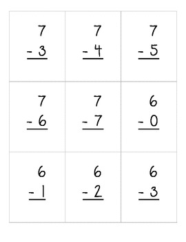 Addition and Subtraction Flashcards up to 10