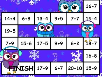 Addition and Subtraction Fluency Game board- winter themed