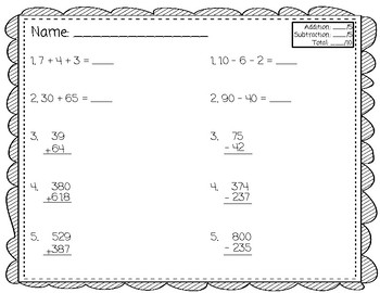 Addition and Subtraction Fluency Quick Check