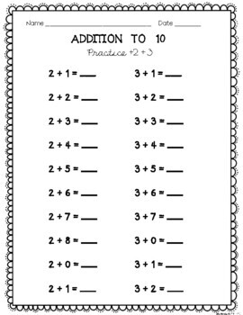 Addition and Subtraction Fluency Sheets