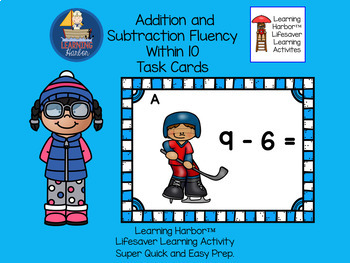 Addition and Subtraction Fluency Within 10 Task Cards  Hockey Kids