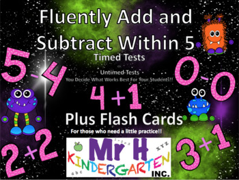 Addition and Subtraction Fluency Within 5 (CC K.OA.A.5 Practice - Kindergarten)