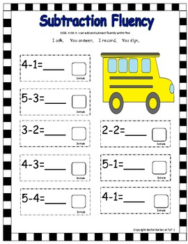 Addition and Subtraction Fluency Within Five Activities