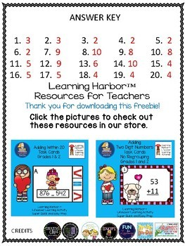 Addition and Subtraction For Valentine's Day 1 Page FREEBIE Just In TIME