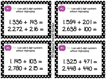 Addition and Subtraction Formative Assessment Slips