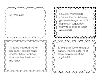 Addition and Subtraction Fraction Task Cards with create your own story problem