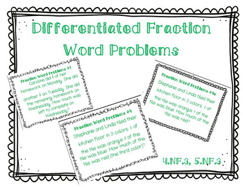 Addition and Subtraction Fraction Word Problems (Leveled)