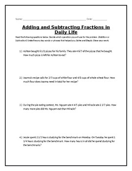 Addition and Subtraction Fraction Word Problems 5th grade