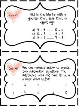 Valentines Day Addition and Subtraction Gallery Walk/Center Activity