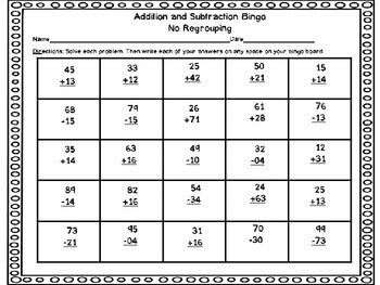 Addition and Subtraction Game Bundle: 2 Digit With and Without Regrouping