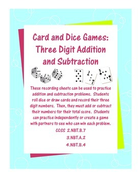Addition and Subtraction Game--Cards/Dice