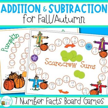 Addition and Subtraction Game Pack - Fall / Autumn theme