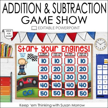 Addition and Subtraction Jeopardy Style Game Show - Editable