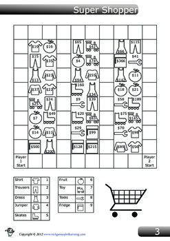 Addition and Subtraction Game - Super Shopper