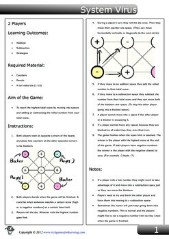 Addition and Subtraction Game - System Virus