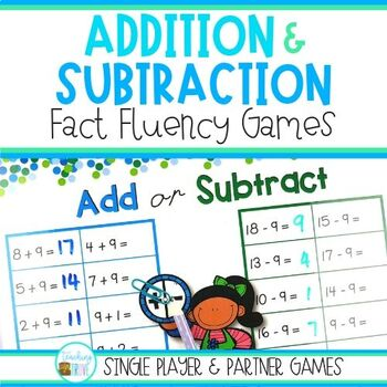Math Fact Fluency Games to 20