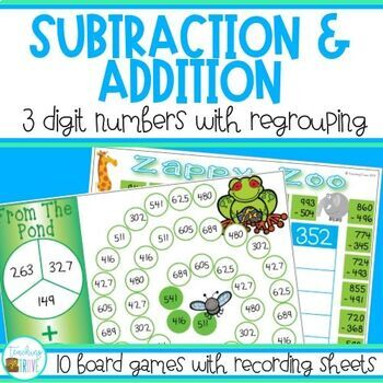 Three Digit Addition and Subtraction Games with Regrouping by ...