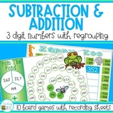 Three Digit Addition and Subtraction Games with Regrouping Bundle