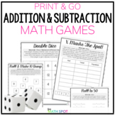 Addition and Subtraction Fact Fluency Games   Printable Distance Learning Packet