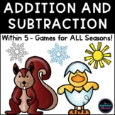 Seasonal Addition and Subtraction Games Within 5