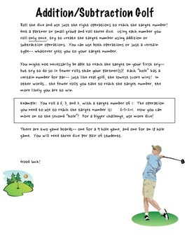 Addition and Subtraction Golf