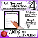 Addition and Subtraction Google Form Assessment 4th grade