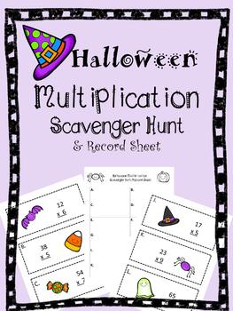 Two Digit Multiplication Halloween Scavenger Hunt