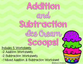 Addition and Subtraction Ice Cream Scoops