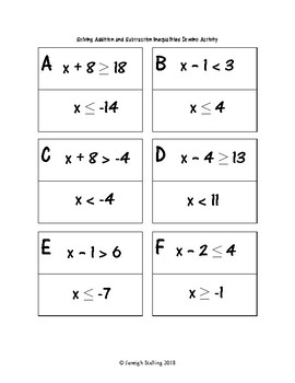 Addition and Subtraction Inequalities Domino Activity