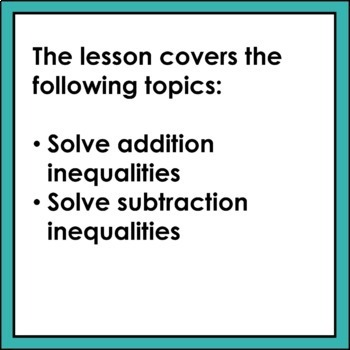 Addition and Subtraction Inequalities Lesson