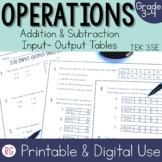 Addition and Subtraction Input Output Tables -Real World Relationship Pairs
