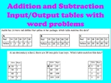 Addition and Subtraction Input Output Tables with Word Problems
