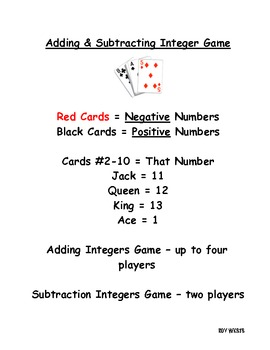 Addition and Subtraction Integers Game