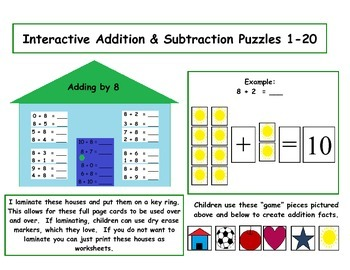 Addition and Subtraction Interactive Puzzles - Sample Preview
