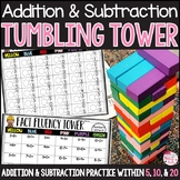 Addition and Subtraction Game: Tumbling Tower Within 5, 10, and 20