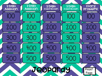Addition and Subtraction Jeopardy
