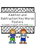 Addition and Subtraction Key Word Posters
