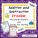 Addition and Subtraction Operations Key Words Posters and Activity Freebie
