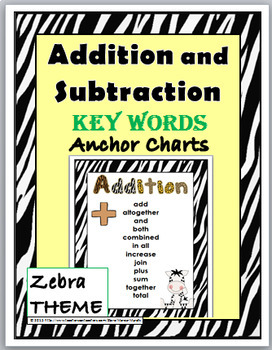 Zebra Theme Classroom Decor Addition & Subtraction Chart - Math Key Word Posters
